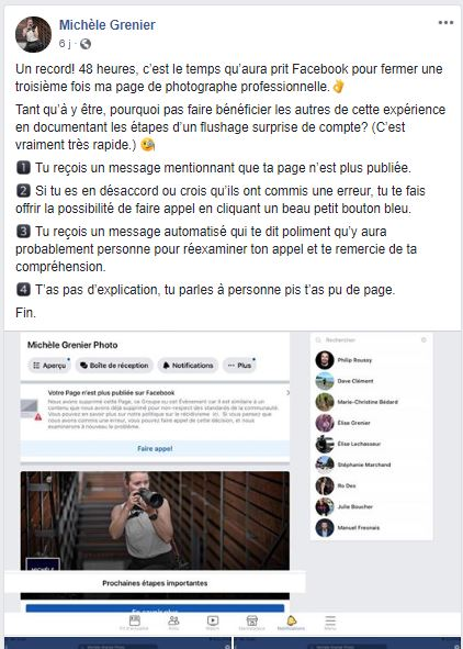 Exemple fermeture page facebook